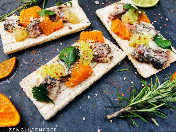 Tartines apéritives sardines-agrumes sans gluten