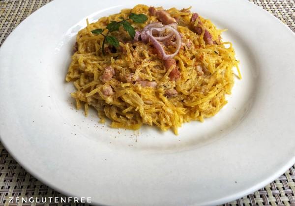 Carbonara de Courge spaghetti sans gluten ni lactose