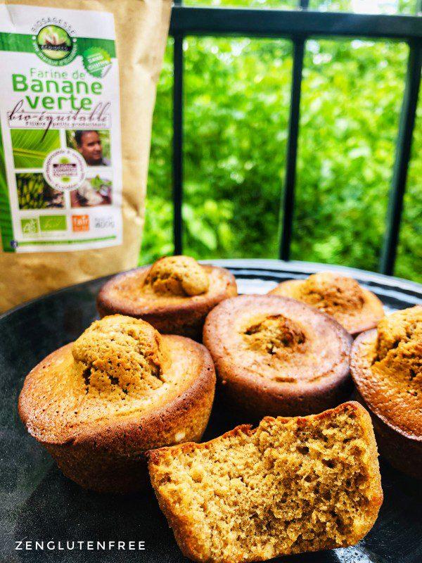 Muffins à la farine de banane verte