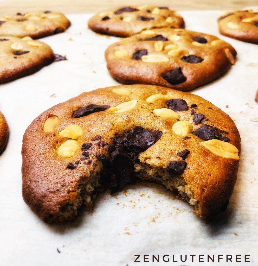 cookies moelleux chocolat cacahuètes sans gluten et sans lactose
