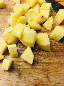 pommes de terre coupés