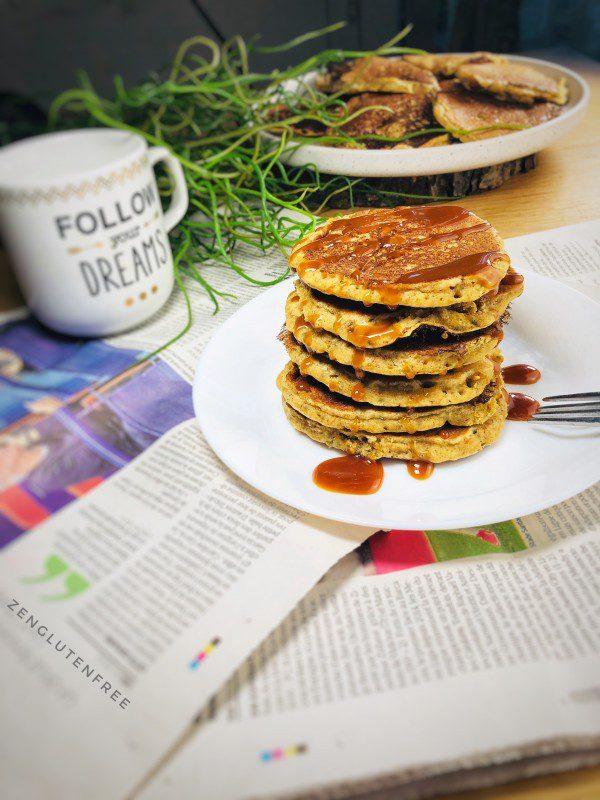 Pancakes Avoine-chia sans œufs sans gluten et sans lactose