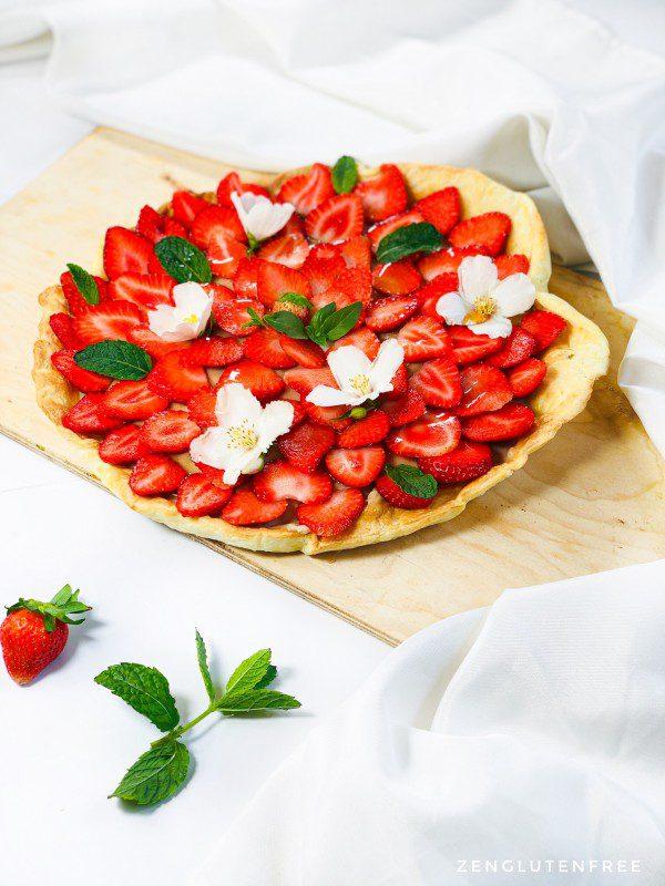 Tarte aux fraises sans œufs sans gluten et sans lactose